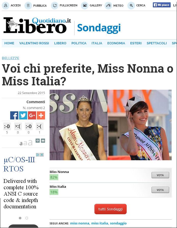 2016 Sondaggio Miss Nonna Miss Italia